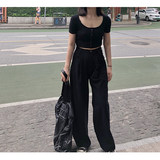 Wide leg pants female high waist 2019 new drape drag straight straight loose thin Hong Kong flavor suit wide leg casual pants