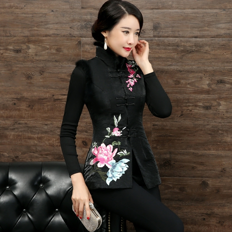National style retro Tang suit ladies shirt winter new Chinese embroidery cotton vest rabbit hair