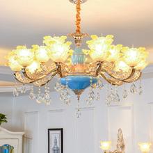欧式吊灯客厅豪华玉石锌合金吊灯餐厅法式蜡烛吊灯卧室水晶灯8头