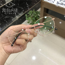 Spectacles frame, female super light gold fine side net red, round frame, male mirror frame, big face, short sight frame, round face Han Fanchao.