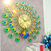 Peacock wall clocks and clocks living room home mute modern decoration personality creative fashion atmosphere wall clock quartz clock