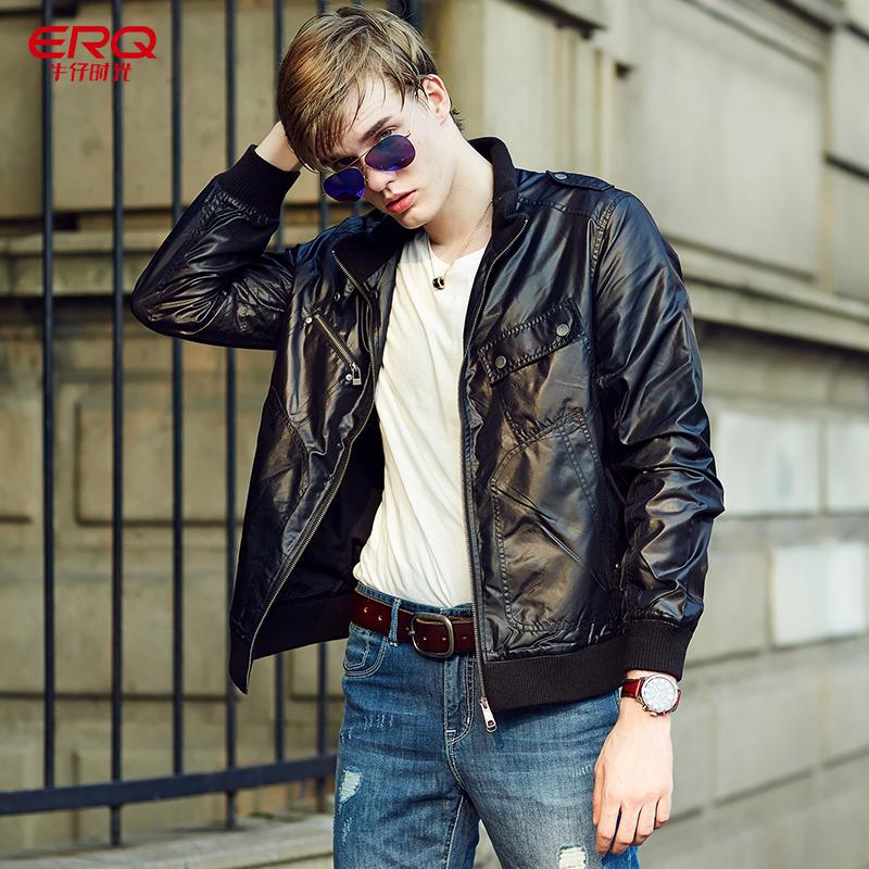 ERQ春款 黑色轻便夹克 男式修身贴袋短夹克外套男 潮5元优惠券