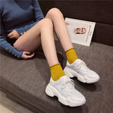 Old shoes female 2019 new wild super fire casual thick sole leather mesh breathable muffin sports shoes casual shoes