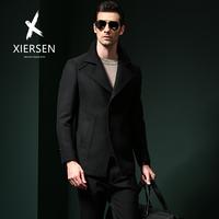 秋冬新款毛呢大衣男士中长款羊毛外套西装领商务休闲青年修身呢子