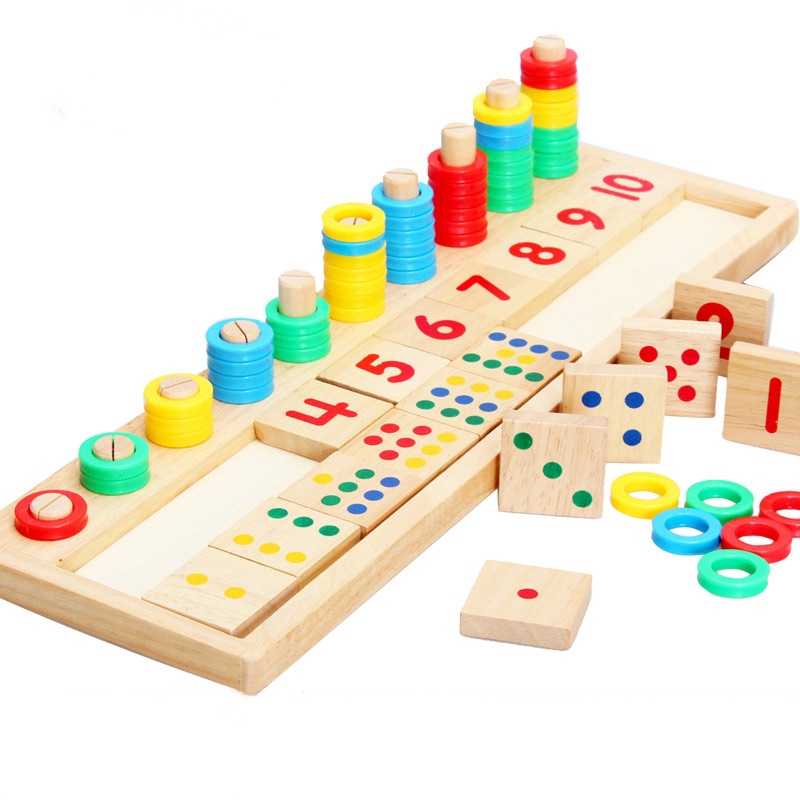 Montessori Teaching Materials Teaching Mathematics Rainbow Putting Donuts Log Board Children's Puzzle Wooden