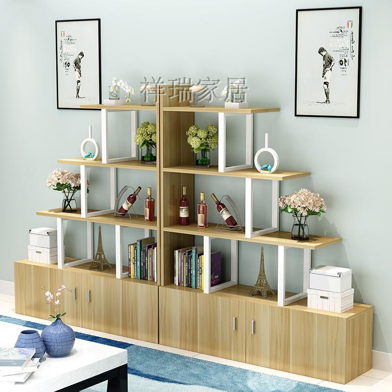 客厅隔断玄关柜屏风简约现代展示多层钢木置物架小户型酒柜间厅柜