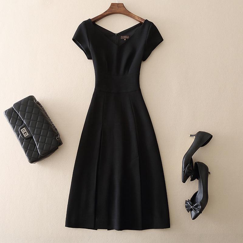 2019夏装新款女装短袖连衣裙修身显瘦气质优雅礼服裙小黑裙中长款