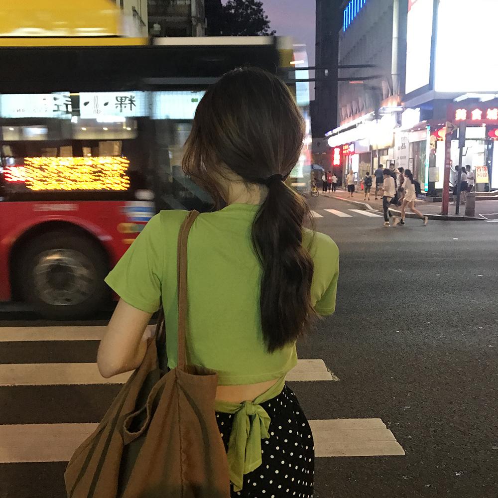 kumayes夏季韩版绿色上衣女修身打底衫2019新款露腰绑带短袖T恤