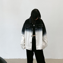 Chic autumn scrap wood BF boyfriend wind white jacket oversize loosely make old gradient jeans jacket female tide