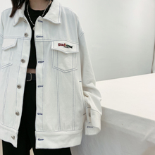 Chic autumn Meiling BF harbor fashion brand couple jacket oversize loose embroidered white jeans jacket girl
