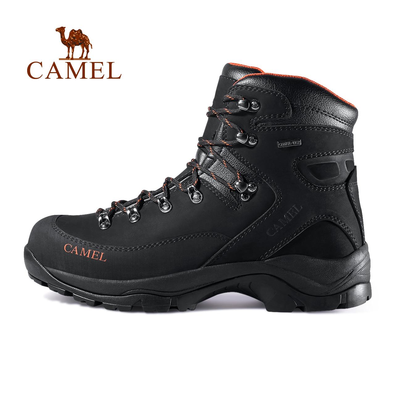 駱駝戶外登山鞋男防撞防水防滑減震耐磨戶外鞋牛皮高幫系帶登山靴