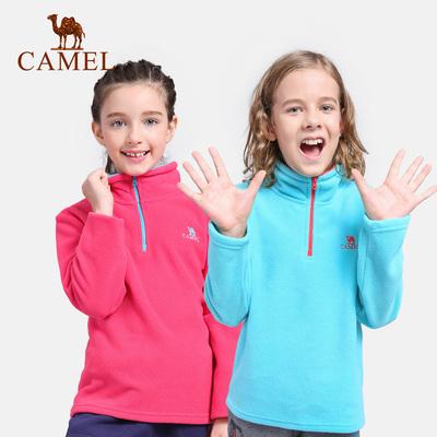 CAMEL骆驼户外童装抓绒衣男女 摇粒绒半开衫外套儿童冲锋衣内胆冬