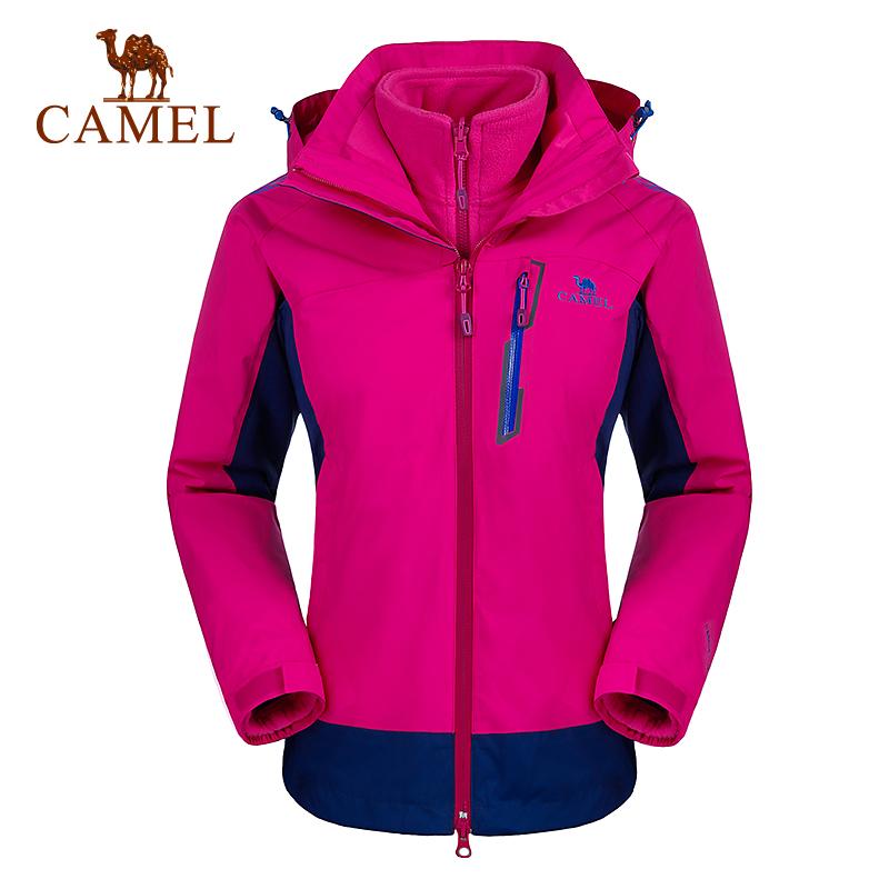 CAMEL骆驼户外 冲锋衣 女防风保暖两件套三合一冲锋衣透气登山服