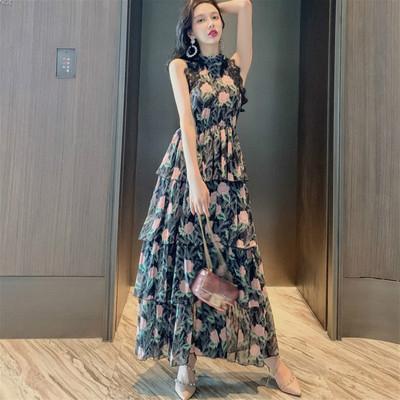 新款女装时尚复古印花荷叶边2019夏季气质修身性感挂脖雪纺连衣裙