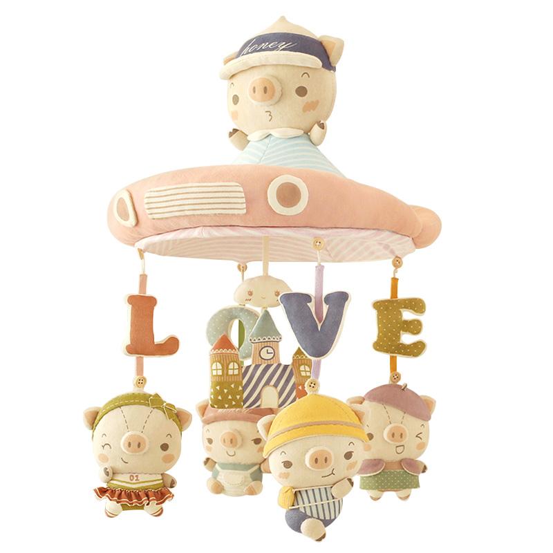 哈尼手工床铃diy猪宝宝吊床挂布艺音乐旋转新生婴儿床头摇铃玩具