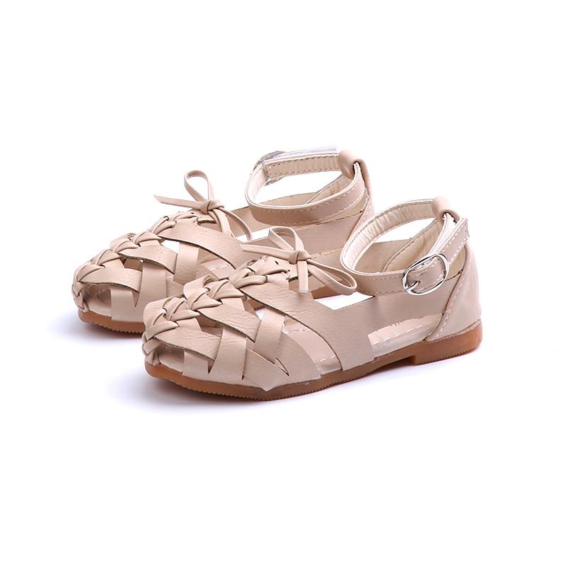 2018夏季新款1-12岁韩版女童凉鞋公主鞋编织罗马鞋平底鞋包头凉鞋