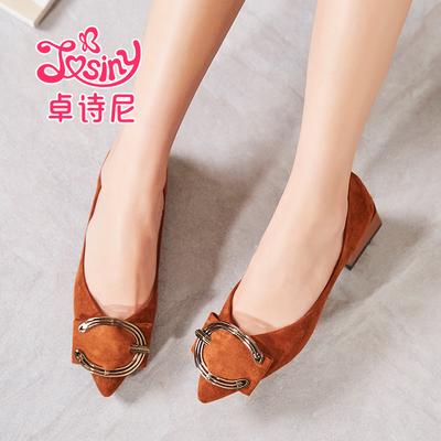 卓诗尼2018秋季新款时尚尖头粗低跟韩版百搭工作鞋平底女士单鞋子