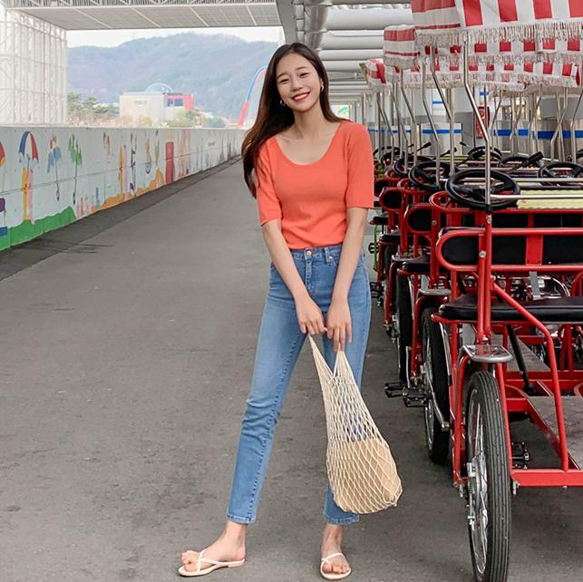 「Ann韩国代购」韩国正品cherrykoko.4月夏磨白水洗韩版牛仔裤