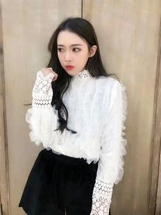 韩版2017新款长袖重工蕾丝镂空花边打底白衬衣淑女洋气衬衫女潮