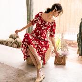 新款 BELLYWEAR2019夏装 孕妇哺乳裙酒红色复古印花方领孕妇连衣裙
