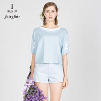 淑女屋2018夏装新款圆领蕾丝蝙蝠袖宽松针织T恤上衣女浅蓝色