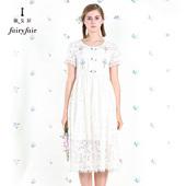 淑女屋2018夏装新款圆领绣花蕾丝短袖高腰连衣裙长裙白色淑女裙子