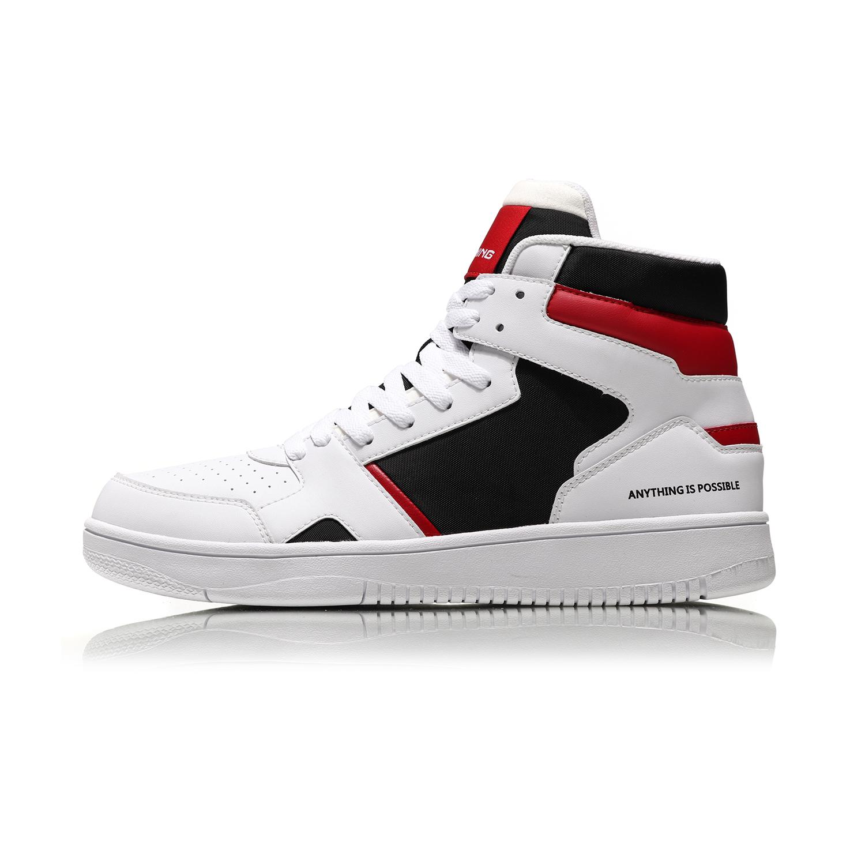 李宁运动鞋男鞋新款高帮白色休闲板鞋时尚百搭AGCN285
