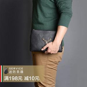 卢比亚2017新款男士手包真皮信封包韩版手抓包大容量休闲手拿包潮