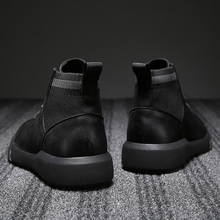 Black Martin Boots Men's Summer Mid-Breath British High-Up Leather Boots Tide with Retro Korean Chelsea Boots