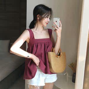 韩国chic风可爱俏皮减龄纯色压皱娃娃衫吊带衫上衣背心T恤显瘦OL