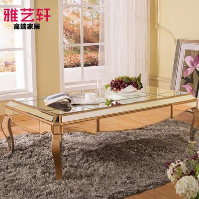 欧式客厅茶几玻璃桌香槟色美式咖啡桌 沙发茶几是新古典镜面家具多少钱