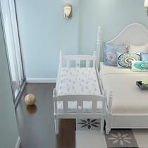 欧式实木儿童床带护栏单人床婴儿床白色小床拼接床加宽床男孩女孩