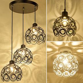 三头餐厅吊灯水晶灯单个书房吧台单头灯玄关过道吸顶灯铁艺装饰灯