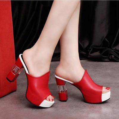 夏季新款超高跟凉拖鞋欧美女士一字拖鞋粗跟女鞋子防水台鱼嘴凉鞋
