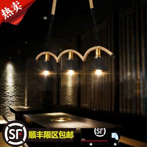 创意吊灯loft复古工业风三头饭餐厅吧台灯酒吧咖啡厅网咖麻绳吊灯
