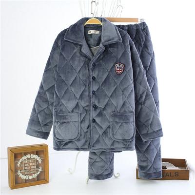 特价冬季男士三层水貂绒夹棉睡衣加厚中老年人保暖睡衣套装家居服
