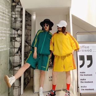 NANA港味潮牌女装休闲运动hiphop嘻哈套装学生宽松夹克短裤两件套
