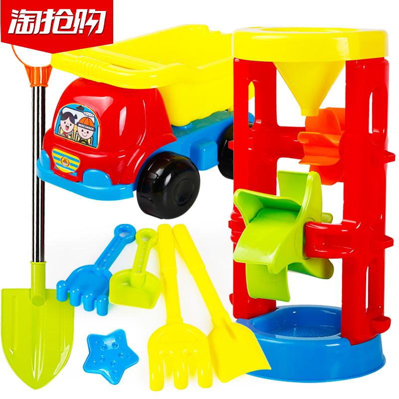 儿童沙滩车玩具套装决明子女男孩宝宝玩沙子沙漏挖沙铲子和桶工具