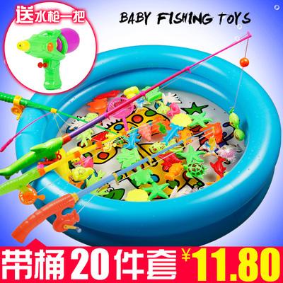 儿童钓鱼玩具池套装磁性铁钓鱼戏水男女小孩宝宝玩具益智1-2-3岁