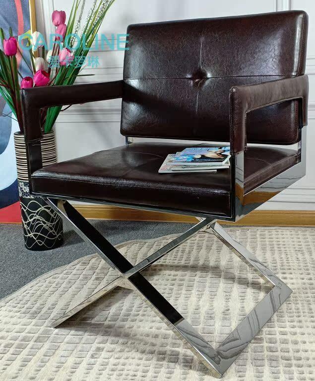 轻奢现代餐椅卧室梳妆不锈钢椅子单人客厅沙发椅家用靠背椅书房