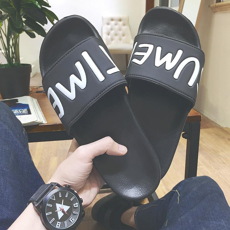 港风夏季新款简约字母人字拖鞋男士韩版百搭复古凉鞋时尚一字拖潮