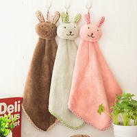 Creative cute bunny thickening can be used to hang coral fleece absorbent towel children cartoon hand towel