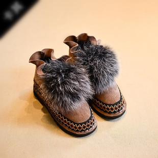 潮流韩国专柜儿童棉鞋韩版女童毛毛鞋中大童加绒保暖小孩冬季鞋潮