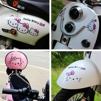 摩托车贴花 kitty猫 防水个性反光小龟王电动电瓶车贴纸装饰膜画