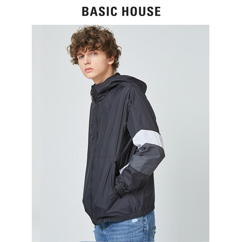 Basic House/百家好男装2019夏季新款短款连帽防风外套BTJP31A1