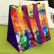 书包手提环保超市购物袋女包 欧美油画收纳旅行李衣服被子大容量装