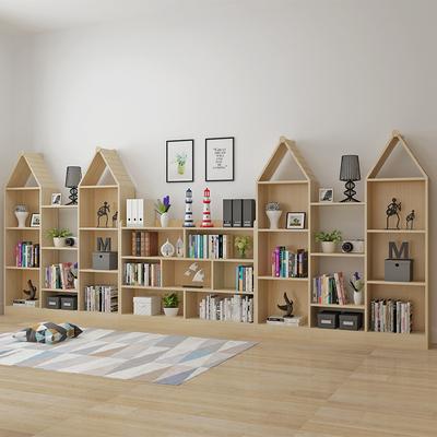 儿童书架置物架实木多层创意小书架简约现代学生简易书柜书架落地特价精选