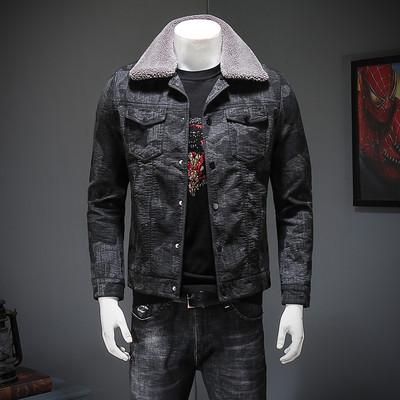 黑迷彩可卸毛领男士帅气外套青年修身加厚加绒韩版鹿皮绒夹克衣服