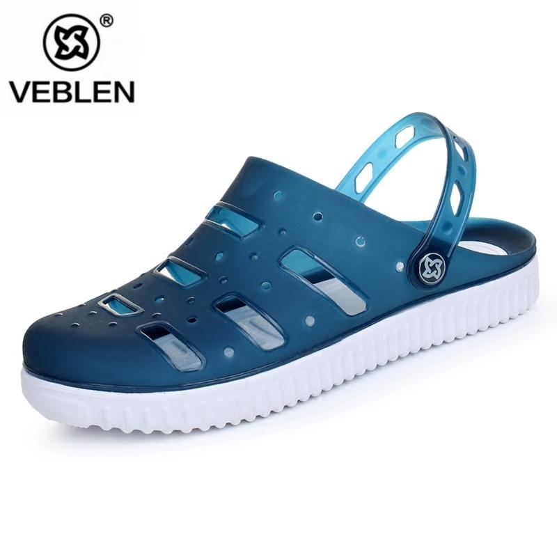VEBLEN夏季洞洞鞋男沙滩鞋镂空鸟巢透气凉鞋塑胶韩版防滑包头拖鞋