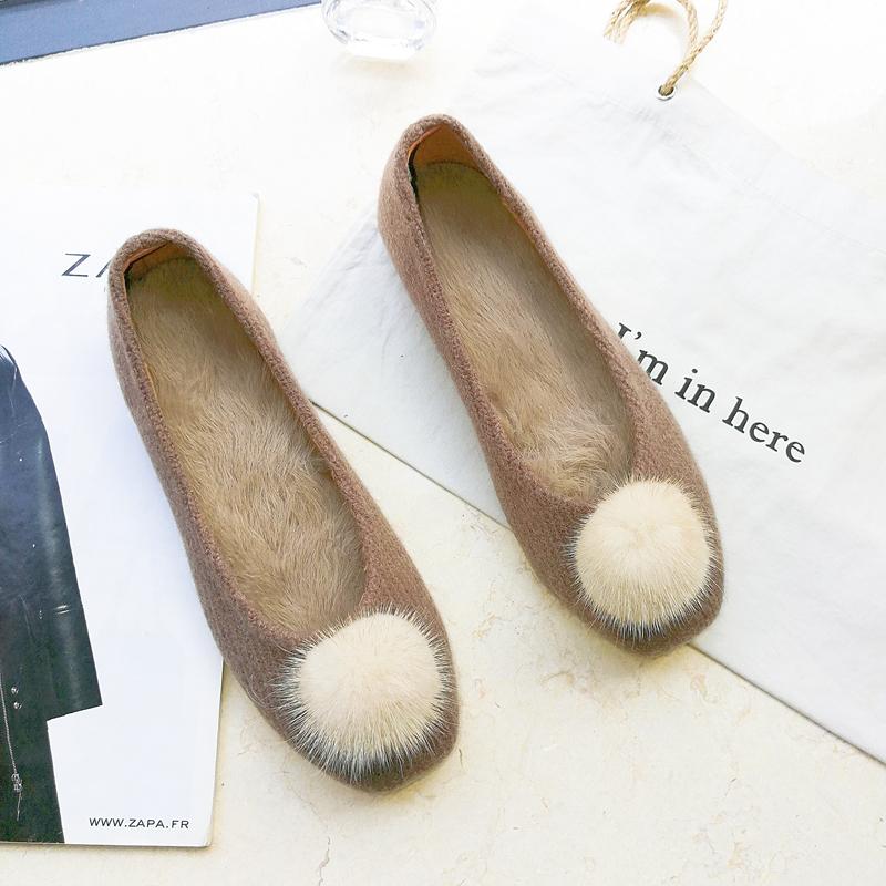 兔毛圆头加绒女鞋